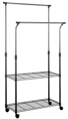 Giorgio Chrome Wire Dble Rod Clothes Rack - Black