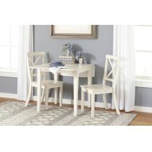 Everyday Classics Drop Leaf Table With 2 Ladder Back Chairs- Linen