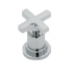 Satin Nickel Lombardia 4-Hole Deck Mount C-Spout Tub Filler With Handshower With Cross Handle