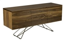 Walnut Classic Contemporary Buffet, Chrome Knobs 2 Drawers, 2 Doors, 1 Adjustable Shelf Behind Each Door Zen Chrome Base