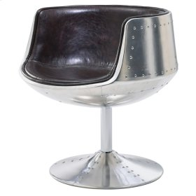 Conan PU Swivel Chair Aluminum Frame, Distressed Java