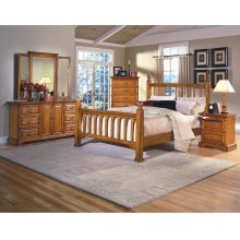 Honey Creek 6/6 EK Poster Bed - 5 Drwr Lift Top Chest