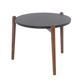 Farren Round End Table Walnut Legs, Umber Brown