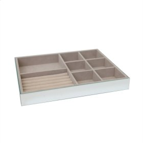 Mirrored 8 Compartment Jewelry Tray, Beige