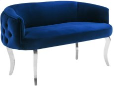 Adina Navy Velvet Loveseat with Silver Legs Product Image