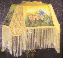 """14""""L Reverse Painted Roses Fabric with Fringe Shade"""