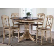 DLU-BR4260CB-B50-PW5PC  5 Piece Round or Oval Butterfuly Leaf Pub Table Set with Napoleon Stools