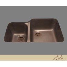 Zola - 60/40 Double Basin Kitchen Sink - Plain Pattern - Pewter