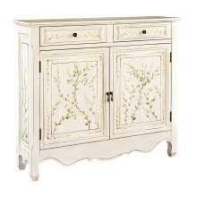 White Hand Painted 2-Door Console