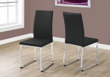 """DINING CHAIR - 2PCS / 38""""H / BLACK LEATHER-LOOK / CHROME"""