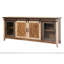 "80"" TV Stand w/2 Glass doors w/1 middle shelf, 2 Sliding doors, w/2 shelves"