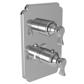 """Satin Nickel - PVD 1/2"""" Square Thermostatic Trim Plate with Handle"""