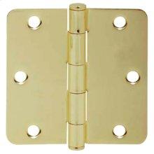 """Door Hardware  3.5"""" Round Hinge 1/4"""" Radius - Bright Brass"""