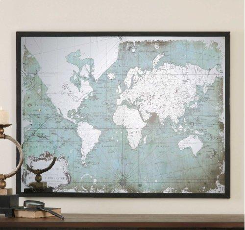 Mirrored World Map Framed Print