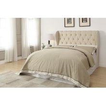 Murietta Traditional Beige Upholstered King Headboard