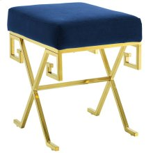 Twist Performance Velvet Bench in Gold Navy