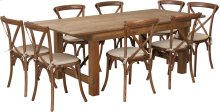 7' x 40'' Antique Rustic Folding Farm Table Set with 8 Cross Back Chairs and Cushions