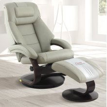 Putty (Grey) Top Grain Leather with Alpine (Black) -Reclines -Swivels -Adjustable Cervical Pillow -Quality Top Grain Leather -Pillow Top Back Cushion