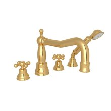 Italian Brass Arcana Column Spout 4-Hole Deck Mount Tub Filler With Handshower with Arcana Series Only Cross Handle