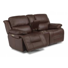 Apollo Leather Power Reclining Loveseat with Console and Power Headrests