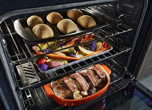 30-Inch 5-Burner Gas Slide-In Convection Range - Black Stainless