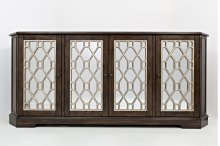 "Casa Bella Vintage Silver and Chestnut 78"" Mirrored Console"