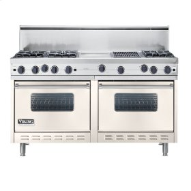 "Oyster Gray 60"" Open Burner Commercial Depth Range - VGRC (60"" wide, six burners 12"" wide griddle/simmer plate 12"" wide char-grill)"