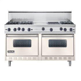 "Oyster Gray 60"" Open Burner Commercial Depth Range - VGRC (60"" wide, six burners 12"" wide griddle/simmer plate 12"" wide char-grill)"