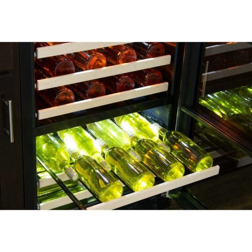 "24"" High Efficiency Dual Zone Wine Cellar - Black Frame, Glass Door - Left Hinge, Stainless Designer Handle"