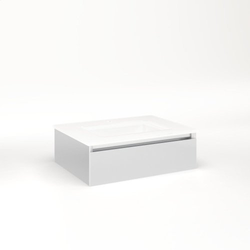 """Cartesian 24-1/8"""" X 7-1/2"""" X 18-3/4"""" Slim Drawer Vanity In Satin White With Slow-close Tip Out Drawer and Night Light In 5000k Temperature (cool Light)"""