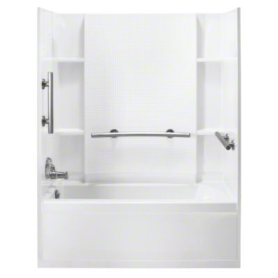 """Accord® 60"""" Bath/Shower with Tile Walls and Nickel Grab Bars - White Wall with Nickel Grab Bar"""