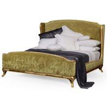 Cali King Louis XV Gilded Bed, Upholstered in Lime Velvet