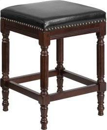 26'' High Backless Cappuccino Wood Counter Height Stool with Spindle Legs and Black Leather Seat