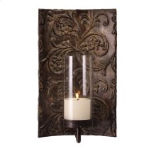Galicia Embossed Metal and Glass Sconce