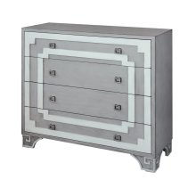 Olympia Grey and White Greek Key 4 Drawer Chest