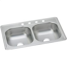 """Dayton Stainless Steel 33"""" x 22"""" x 7-1/16"""", Equal Double Bowl Drop-in Sink"""