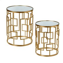 Gold Geo Side Table with Mirror Top. (2 pc. set)