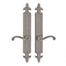 "Fleur de Lis Passage Set - 2"" x 15"" White Bronze Brushed"