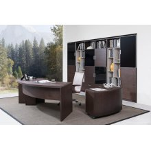 Modrest Highland Modern Brown Oak Office Desk w/Cabinet