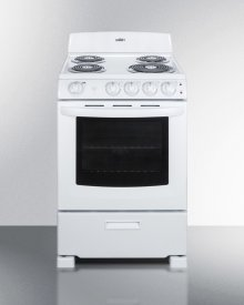 "24"" Wide Electric Range In White Finish With Coil Burners, Lower Storage Compartment, and Oven Window"
