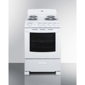 "Summit24"" Wide Electric Range In White Finish With Coil Burners, Lower Storage Compartment, and Oven Window"