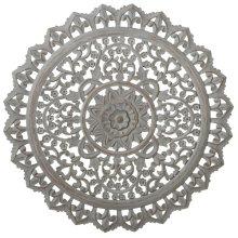 Carved Round Greywash Floral Wall Decor