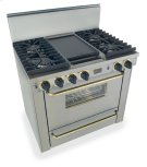 """36"""" All Gas, Convect, Sealed Burners, Stainless Steel with Brass Product Image"""