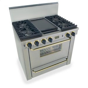 "Five Star36"" All Gas, Convect, Sealed Burners, Stainless Steel with Brass"
