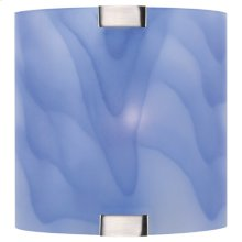 Wall Lamp, Ps W/light Blue Glass Shade, 40w/b Type