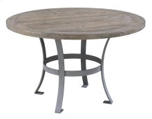 """Complete Round 48"""" Dining Table-pine Top-sandstone Finish & Metal Base"""