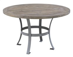 """Complete Round 54"""" Dining Table-pine Top-sandstone Finish & Metal Base Product Image"""