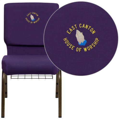 Embroidered HERCULES Series 18.5''W Church Chair in Royal Purple Fabric with Cup Book Rack - Gold Vein Frame