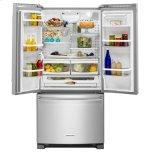 KitchenAid® 22 cu. Ft. 33-Inch Width Standard Depth French Door Refrigerator with Interior Dispense - Stainless Steel