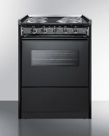 """24"""" Wide Slide-in Electric Range In Black With Oven Window, Light, and Lower Storage Compartment; Replaces Tem619rw/tem610cwrt"""